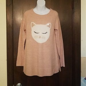 NWT LC Lauren Conrad Pink Kitty Boxy Sweater